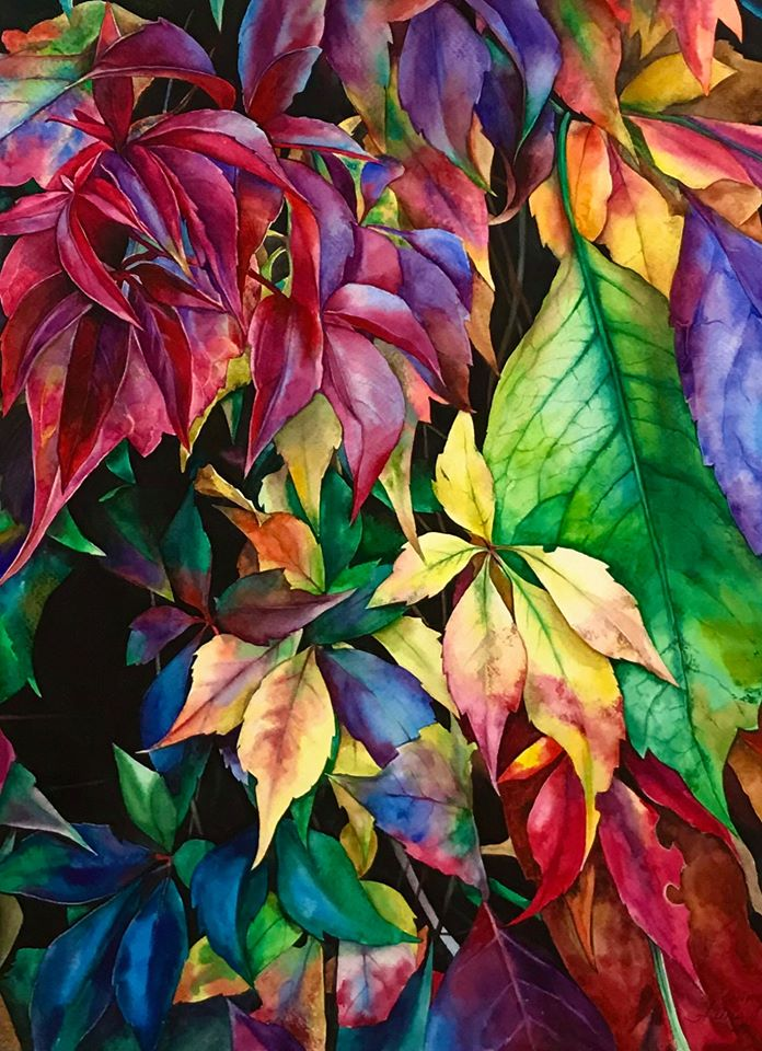 hyper realistic watercolor painting leaves by elena van gelder