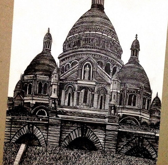 architectural pen drawing cathedral by emi nakajima