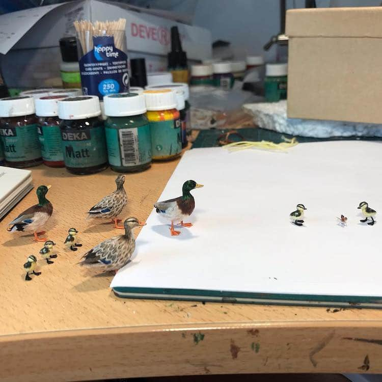 miniature polymer clay sculpture duck walk by fanni sandor