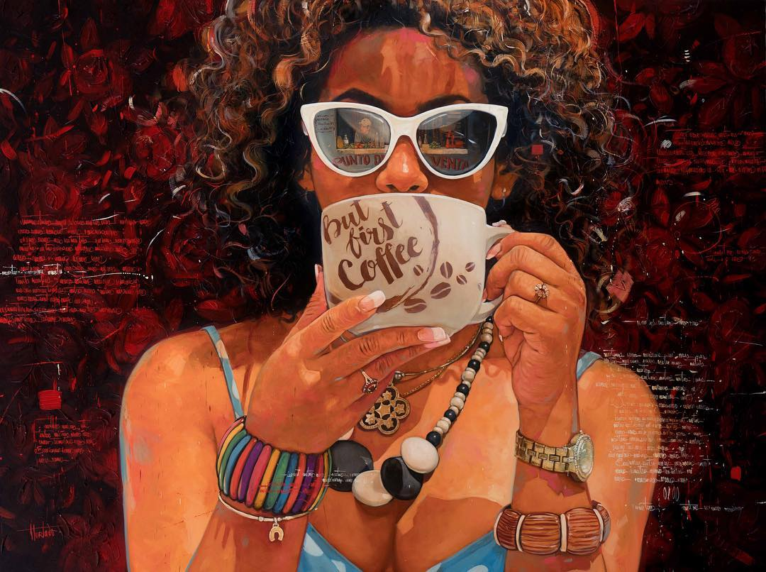 painting coffee cup woman by yunior hurtado torress