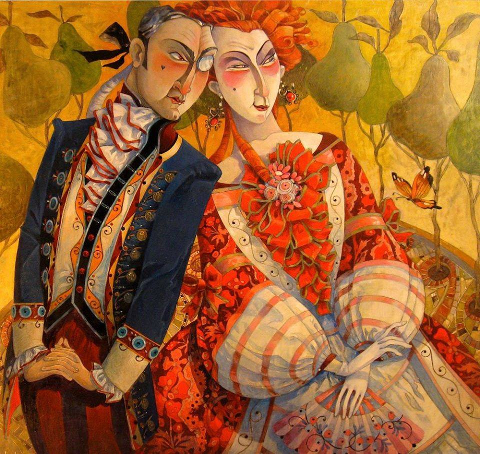 surreal oil painting autumn couple by david galchutt
