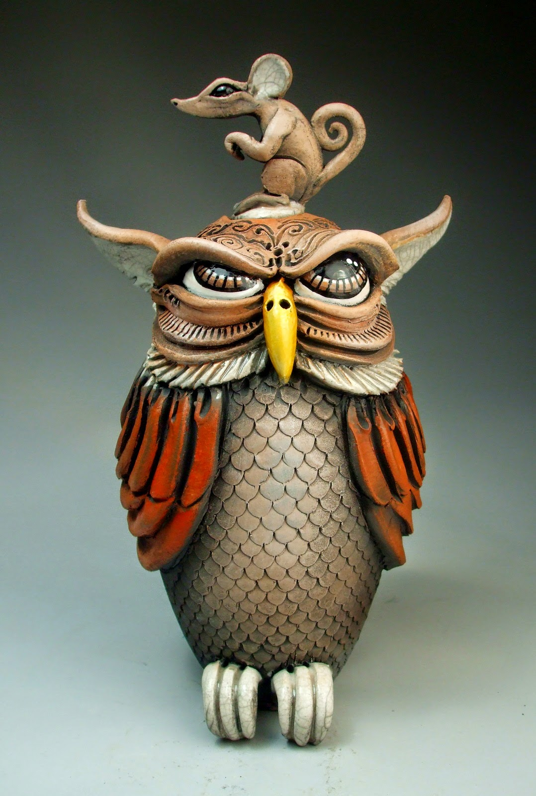 ceramic sculpture owl rat jug by mitchell grafton