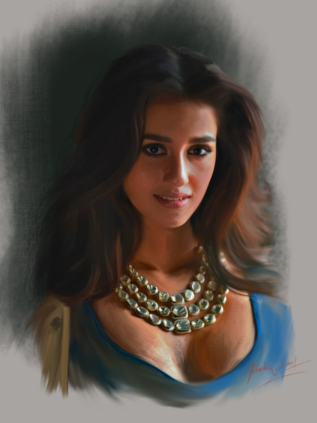digital painting celebrity portrait disha patani by abhishek samal