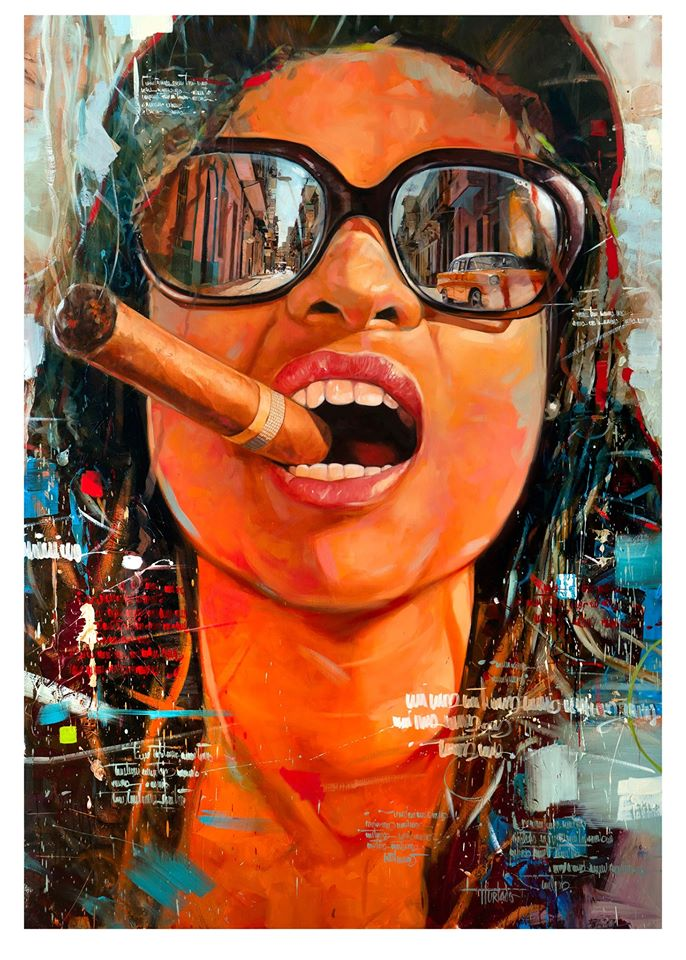 painting cigar woman cuba by yunior hurtado torress
