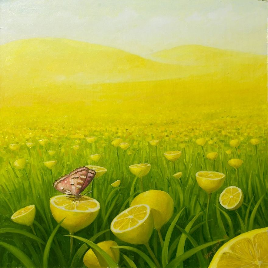 surreal oil painting field lemons by vitaly urzhumov