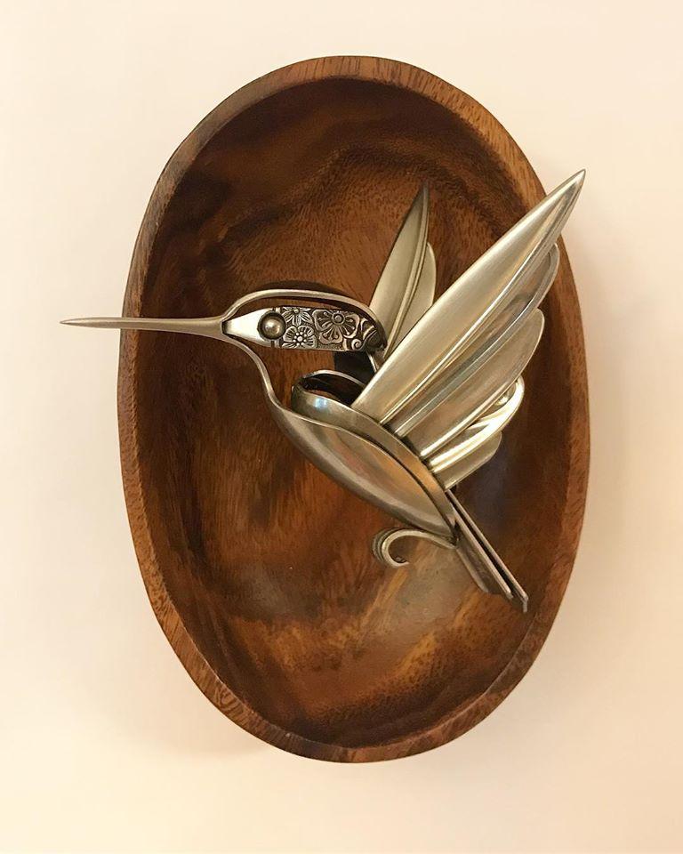 scrap metal sculpture bird by matt wilson
