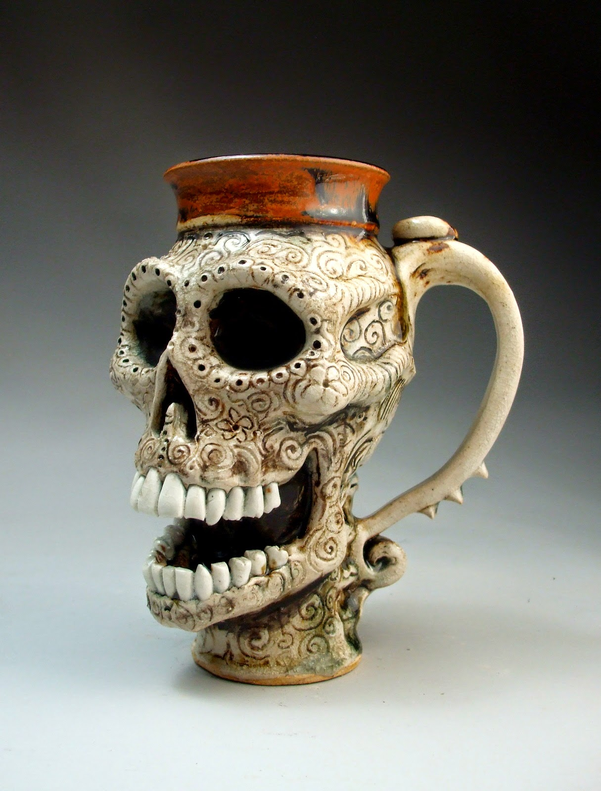ceramic sculpture monster cup by mitchell grafton