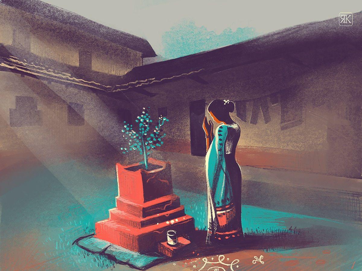 digital illustration tulsi prayer by ranganath krishnamani