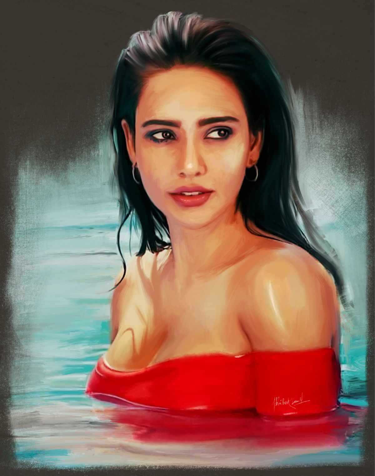 digital painting celebrity portrait neha sharma by abhishek samal