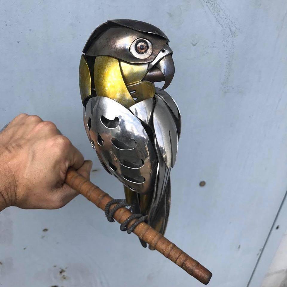 scrap metal sculpture parrot by matt wilson