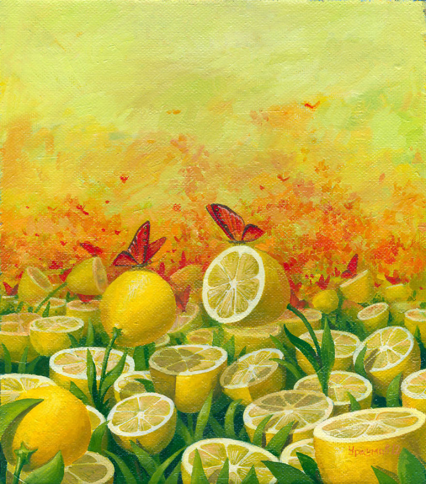 surreal oil painting lemon butterflies by vitaly urzhumov