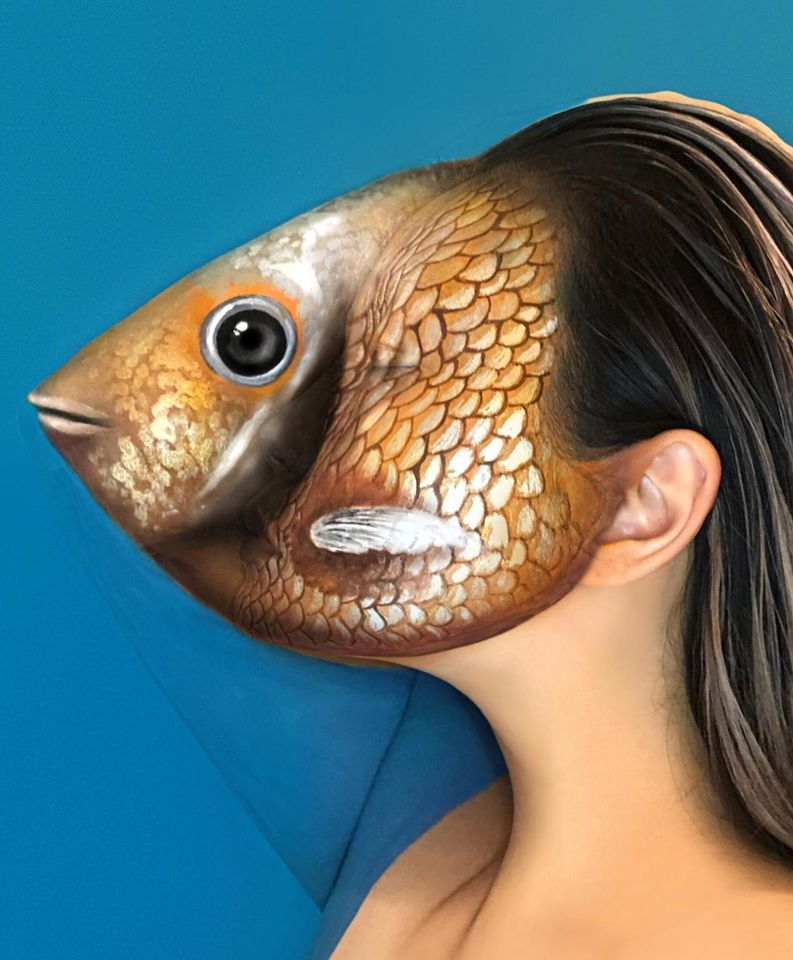 body painting art face fish head by mimi choi