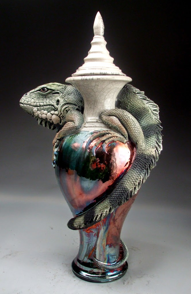 ceramic sculpture lizard vase by mitchell grafton