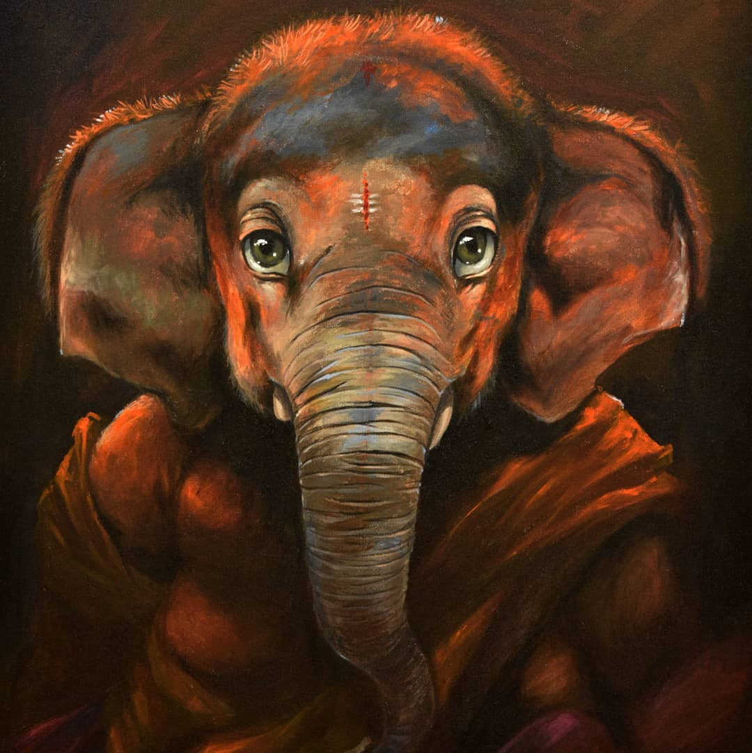 digital illustration elephant by karan acharya