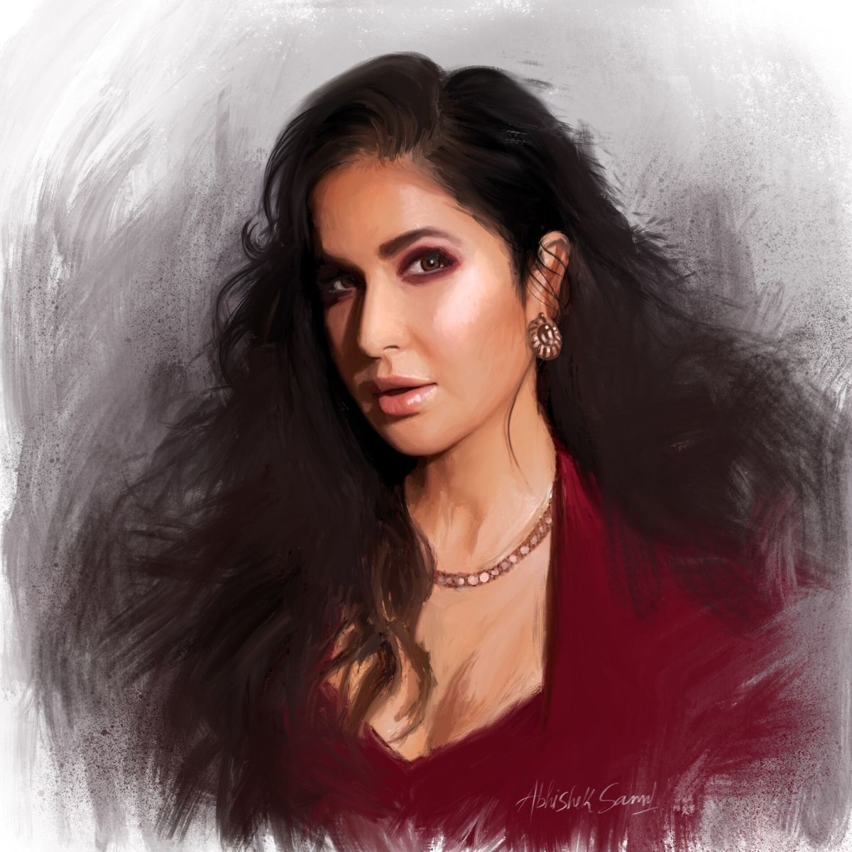 digital painting celebrity portrait katrina kaif by abhishek samal