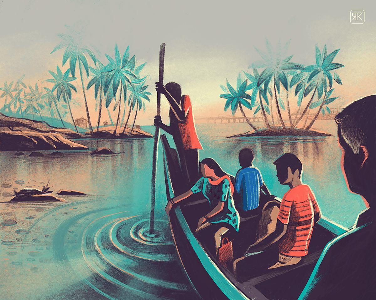 digital illustration boat ride by ranganath krishnamani