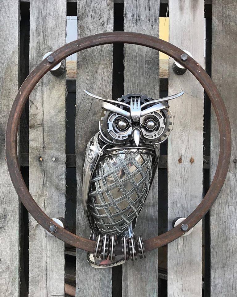 scrap metal sculpture bird owl by matt wilson