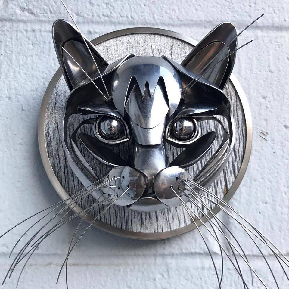 scrap metal sculpture cat by matt wilson