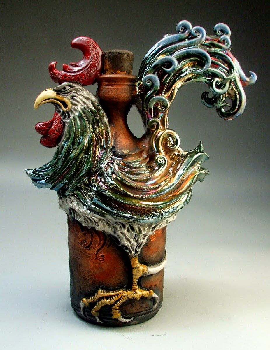 ceramic sculpture rooster jug by mitchell grafton