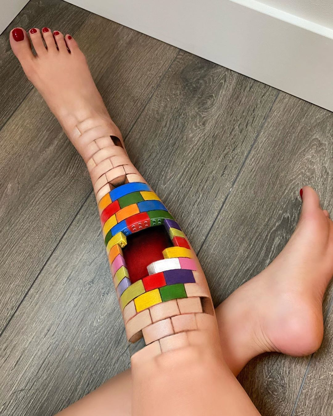 body painting art leg lego build by mimi choi