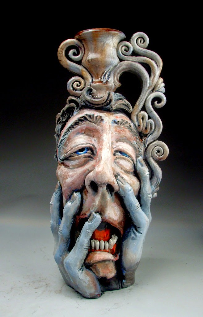 ceramic sculpture sad face jug by mitchell grafton
