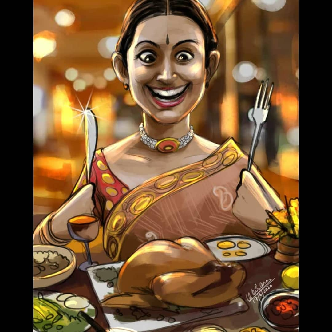 caricature foodie by karan acharya