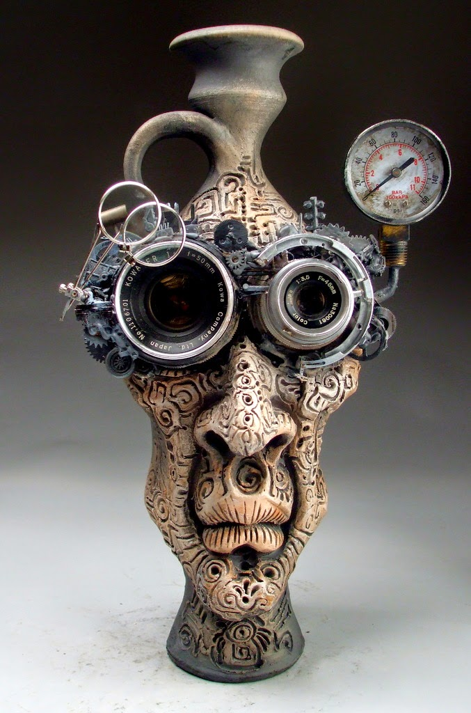 ceramic sculpture time face jug by mitchell grafton