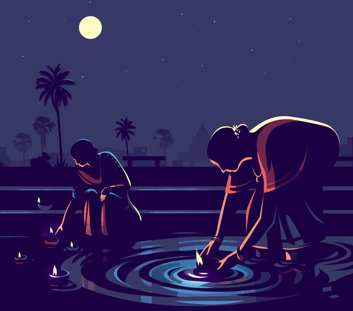 digital illustration moonlight diya by ranganath krishnamani
