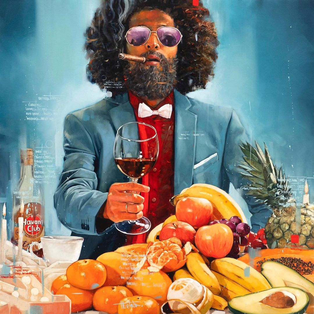 painting feast man cigar by yunior hurtado torress
