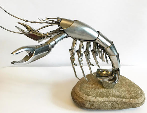 scrap metal sculpture lobster by matt wilson