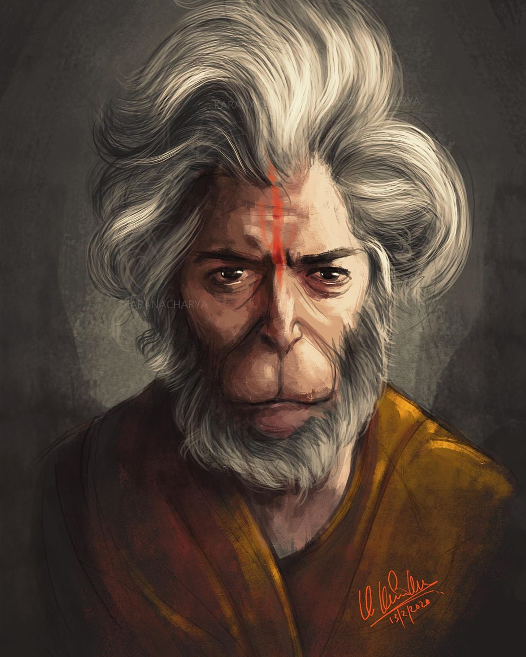 2 digital illustration monkey sage by karan acharya