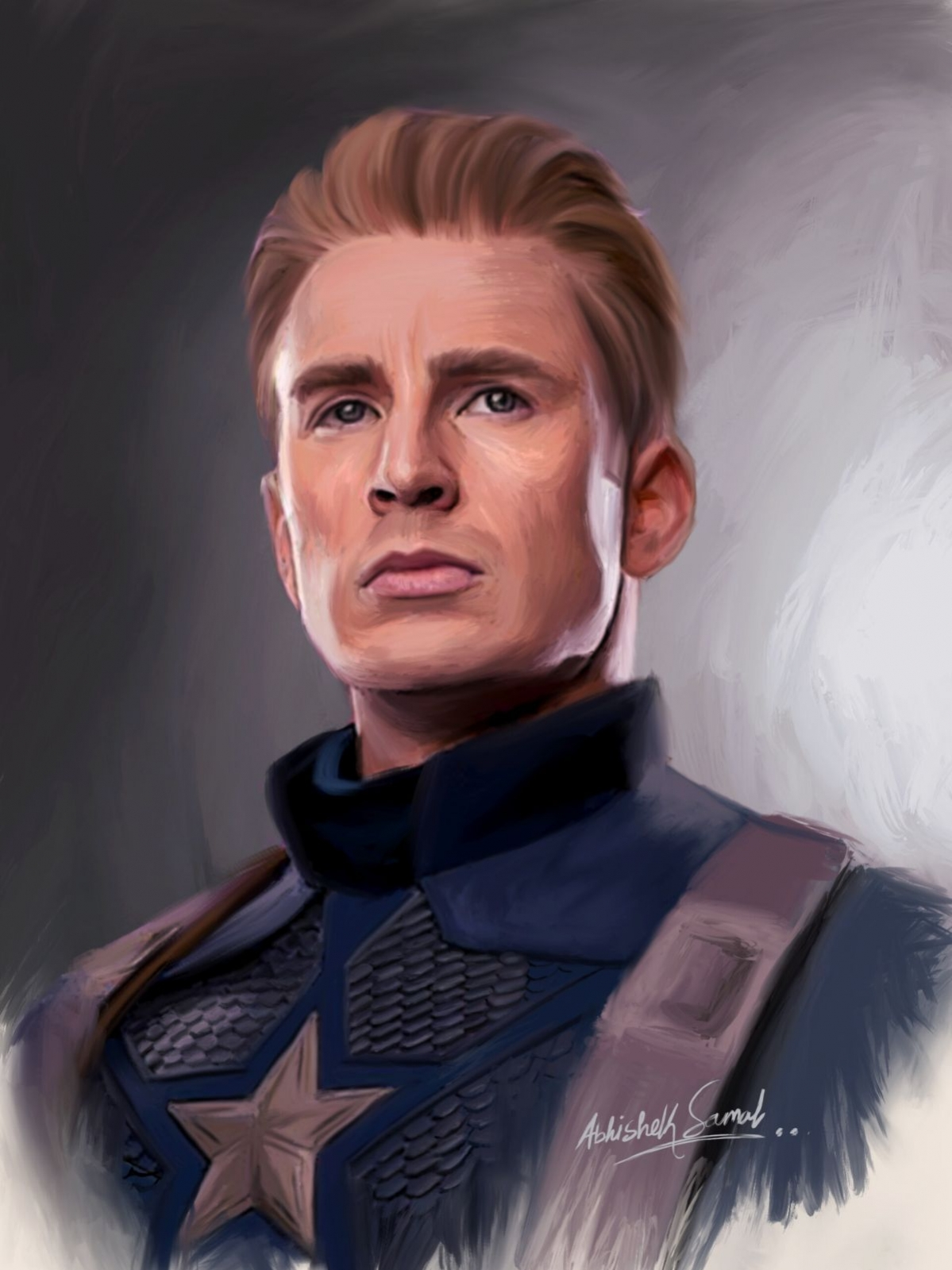 digital painting celebrity portrait captain america by abhishek samal