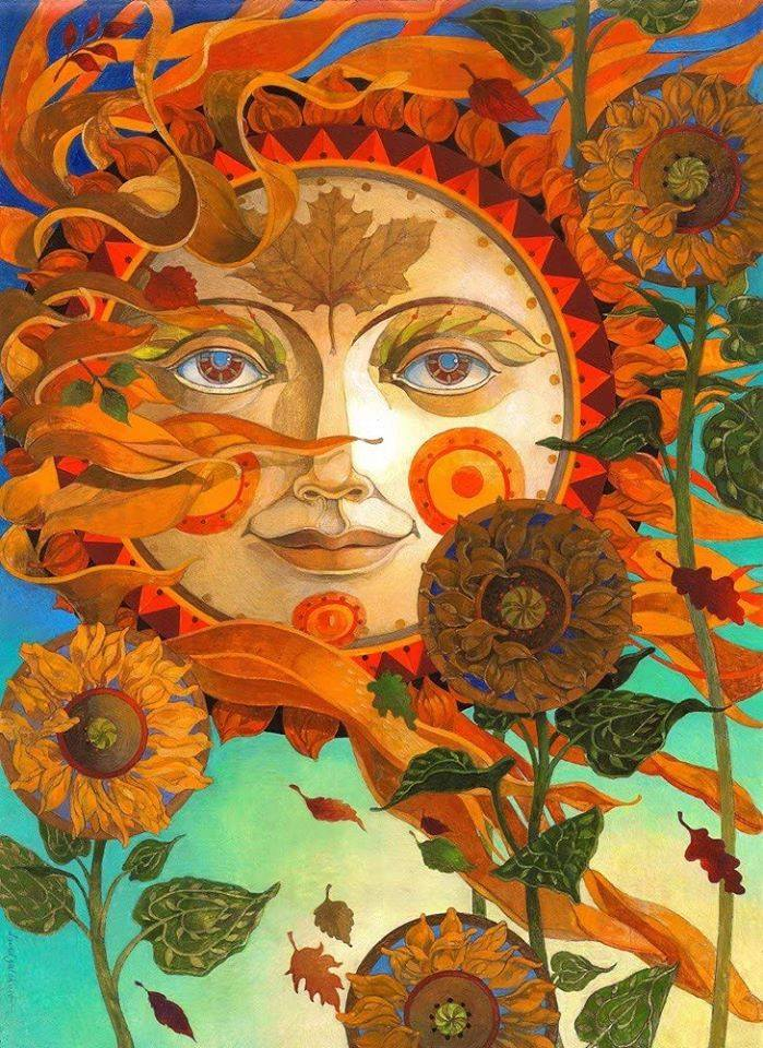 2 surreal oil painting sun face by david galchutt