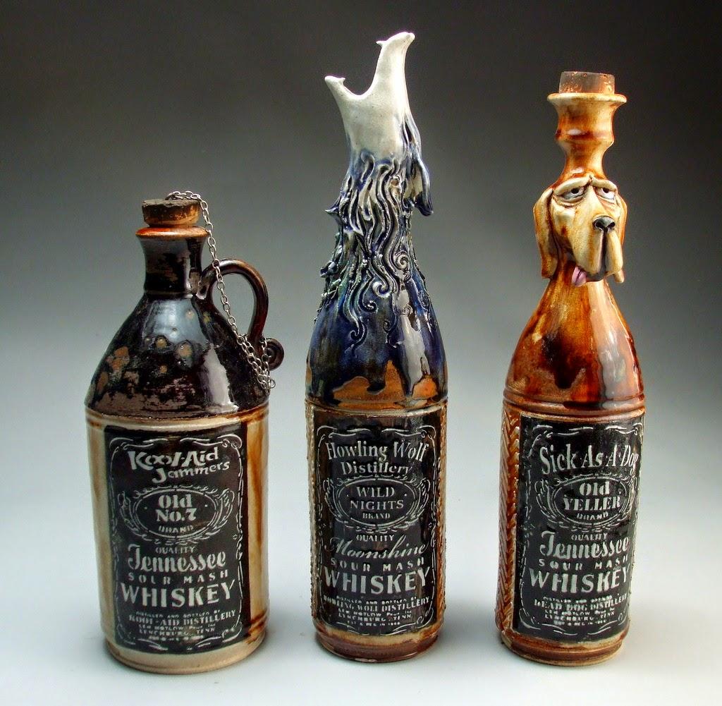 ceramic sculpture whiskey bottle by mitchell grafton
