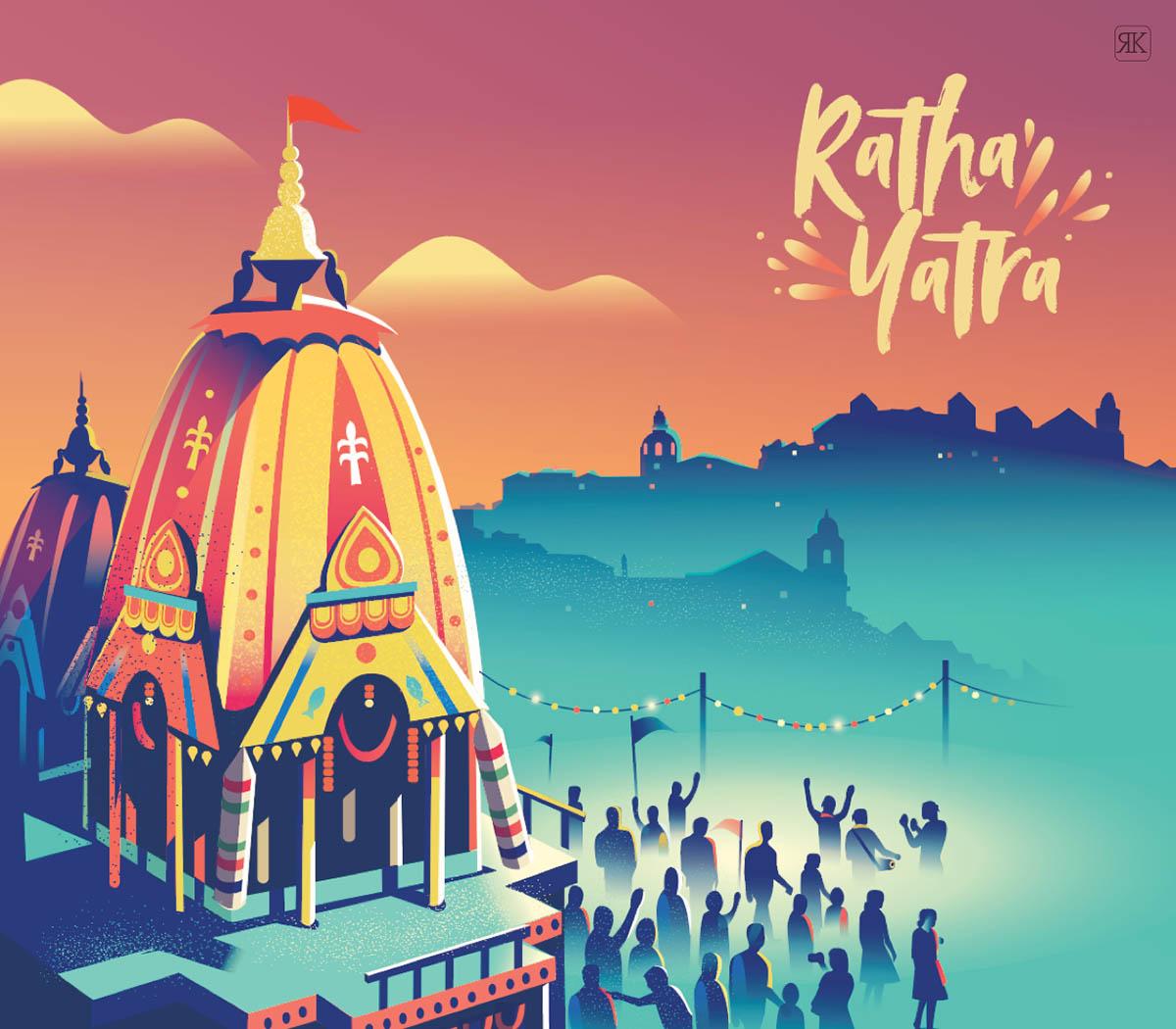 digital illustration rath yatra by ranganath krishnamani