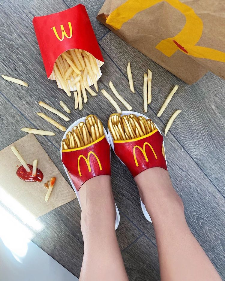 body painting art foot french fries by mimi choi
