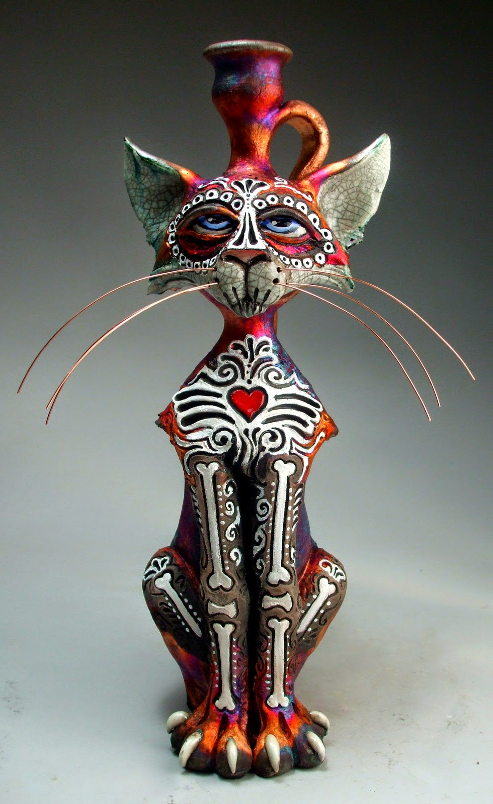 ceramic sculpture cat painted jug by mitchell grafton