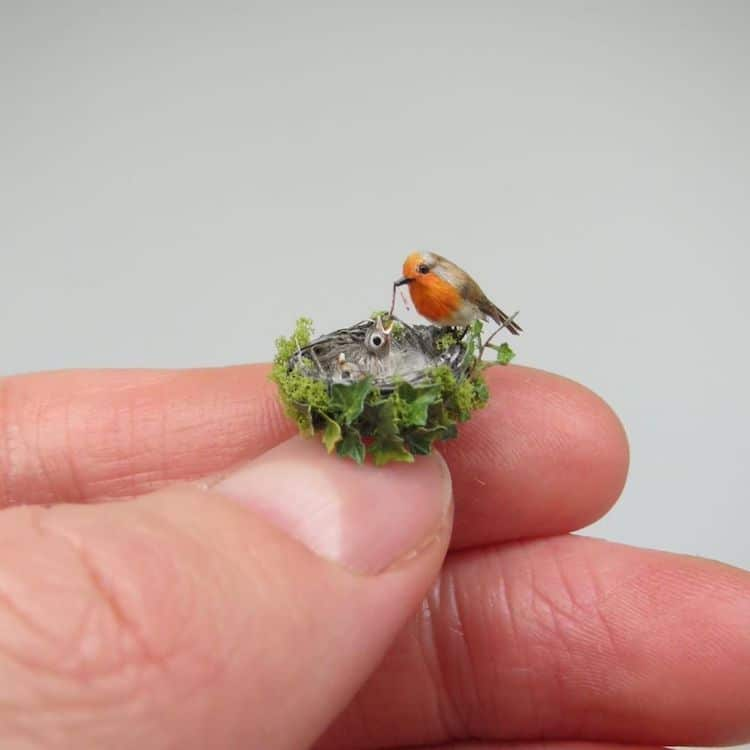 miniature polymer clay sculpture bird nest by fanni sandor
