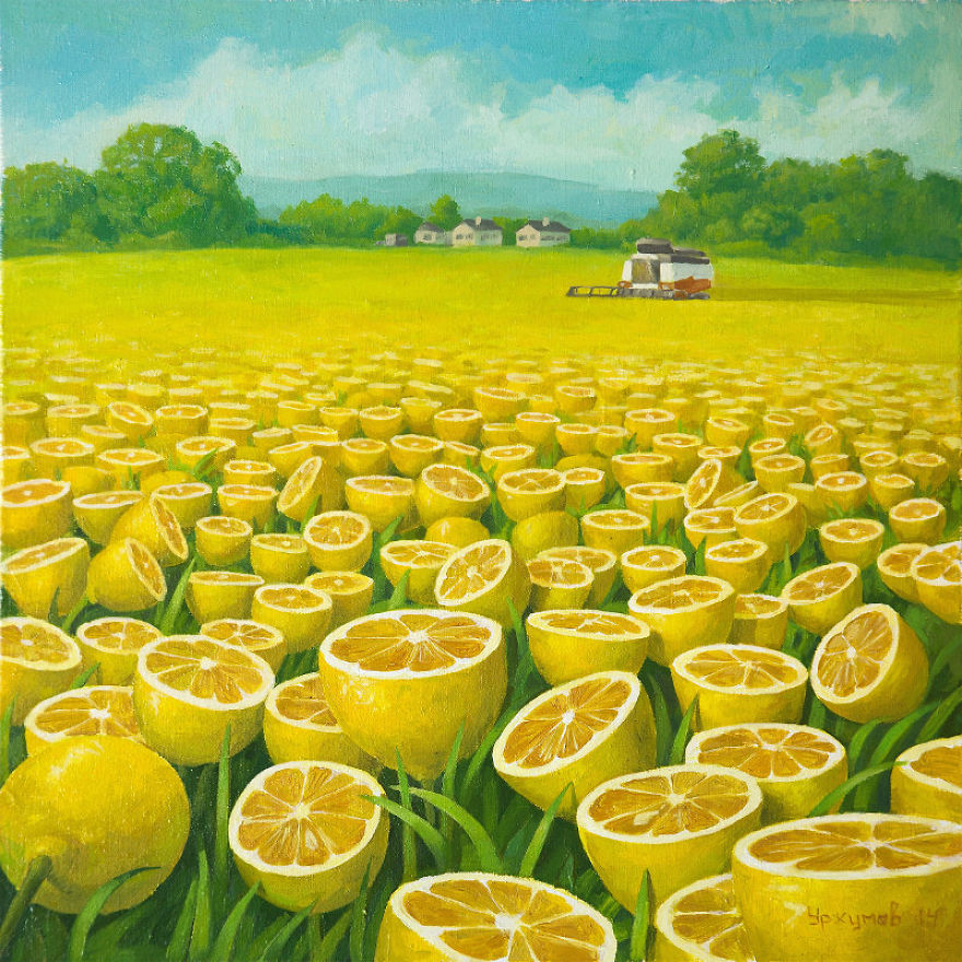 surreal oil painting lemon harvest by vitaly urzhumov