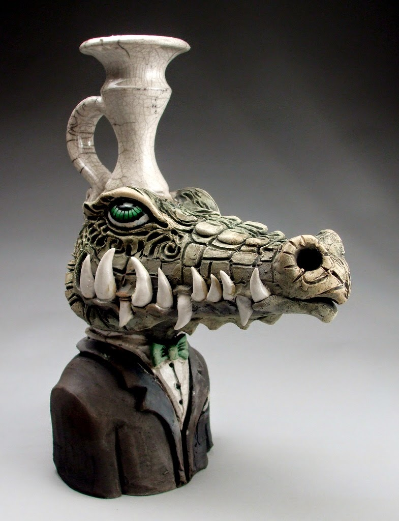 ceramic sculpture crocodile jug by mitchell grafton