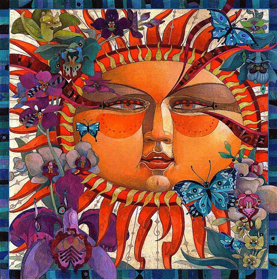 surreal oil painting flower sun by david galchutt