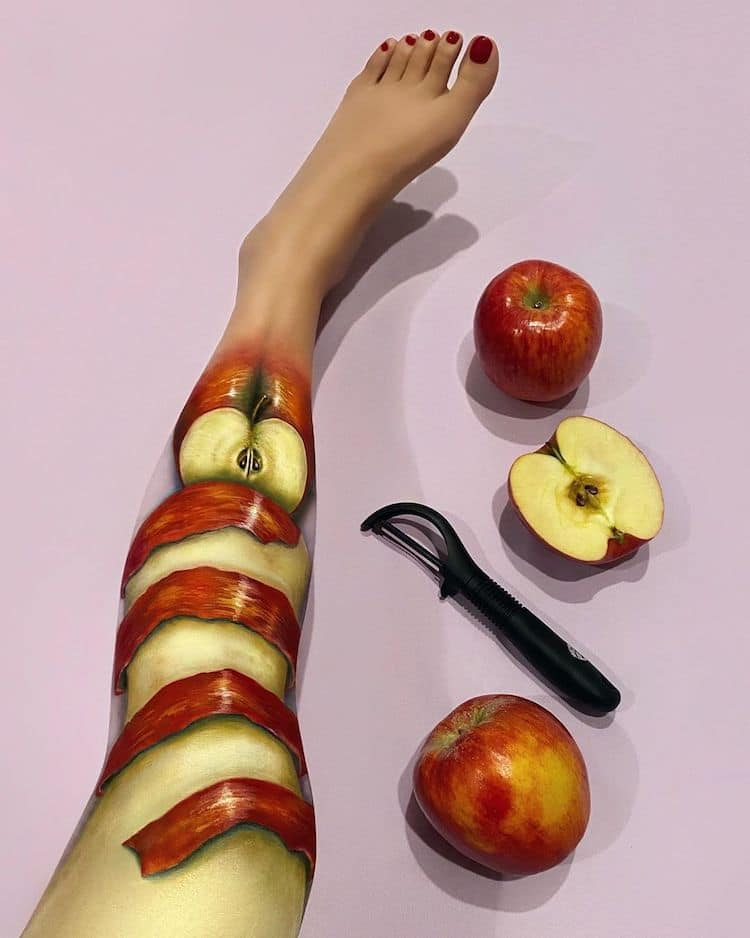 body painting art leg apple slices by mimi choi