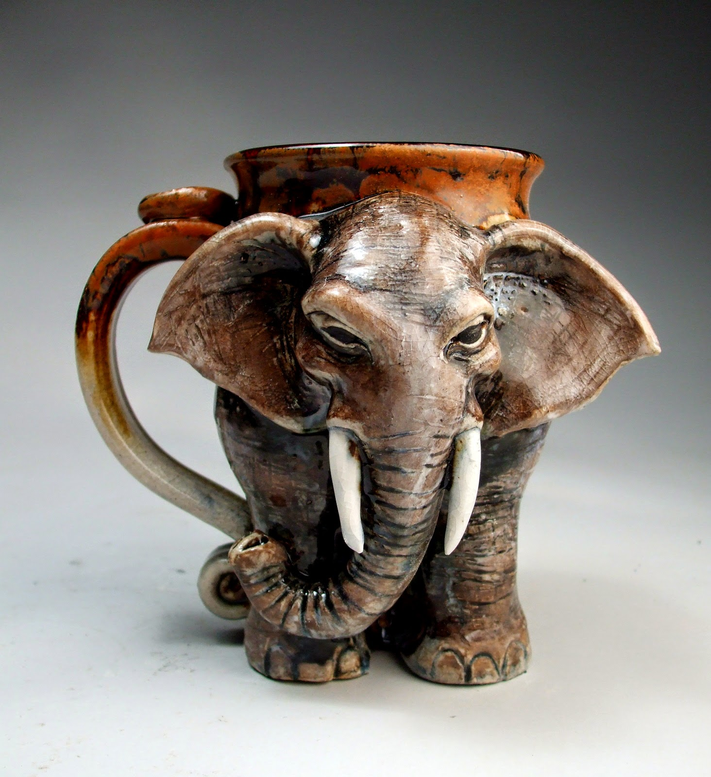 ceramic sculpture elephant mug by mitchell grafton