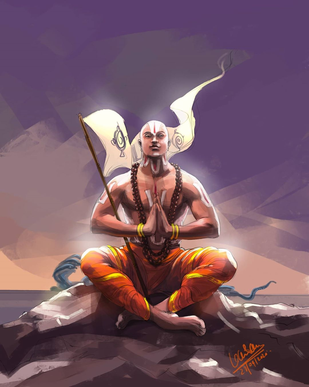 digital illustration ramanajacharya by karan acharya