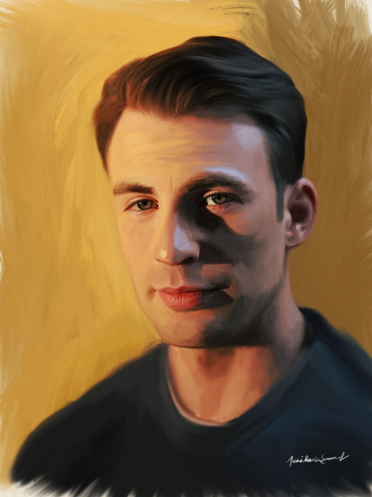 digital painting celebrity portrait chris evans by abhishek samal