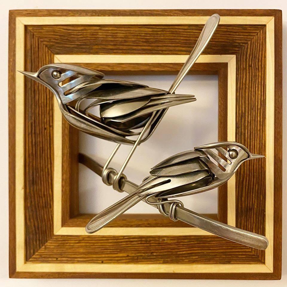 scrap metal sculpture bird lovebirds by matt wilson
