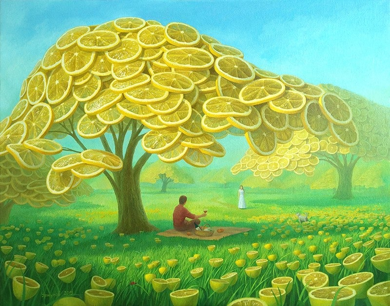 surreal oil painting lemon tree picnic by vitaly urzhumov