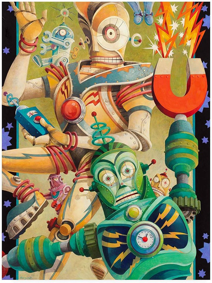surreal oil painting robot fight by david galchutt