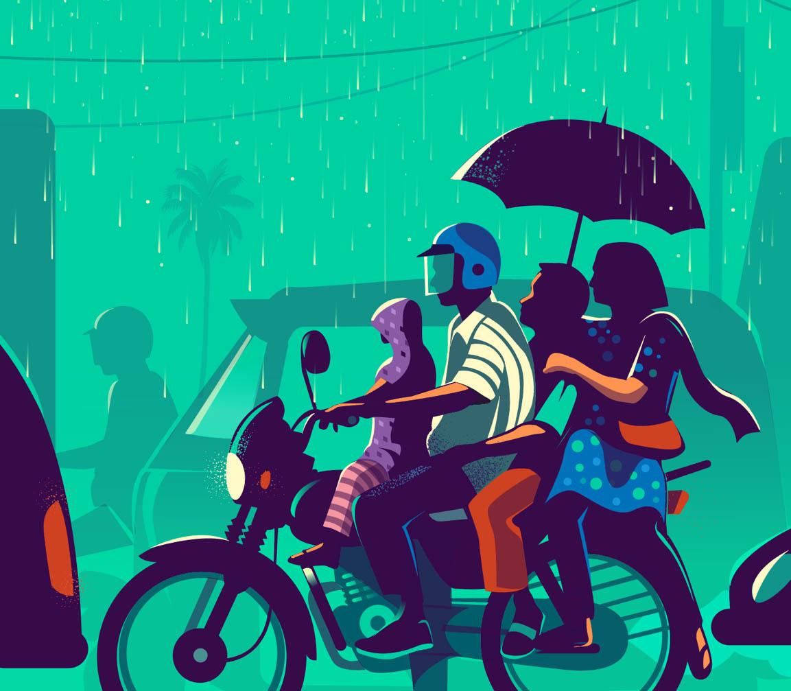 digital illustration family ride by ranganath krishnamani