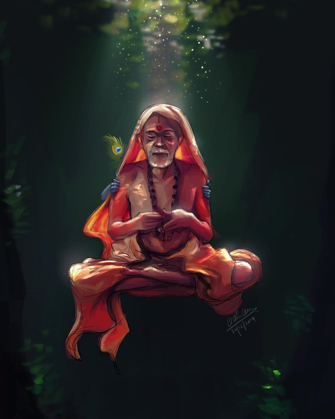 digital illustration swamiji by karan acharya